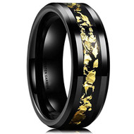 8mm - Unisex or Men's Tungsten Wedding Band. Wedding Band Black with Gold Foil Inlay. Tungsten Carbide Ring