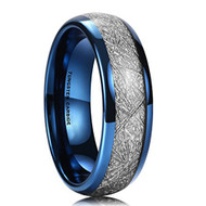 6mm - Unisex or Women's Tungsten Wedding Band. Blue Tone Ring with Inspired Meteorite. Domed Top Tungsten Carbide Comfort Fit.