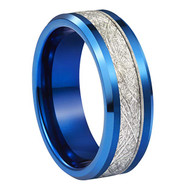 6mm - Unisex or Women's Tungsten Wedding Band. Blue Tone Ring with Inspired Meteorite. Beveled edge Tungsten Carbide Comfort Fit.