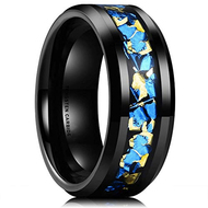 8mm - Unisex or Men's Tungsten Wedding Band. Wedding Band Black with Blue and Yellow Gold Foil Inlay. Tungsten Carbide Ring