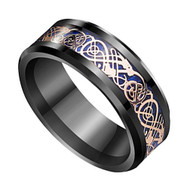 8mm - Unisex or Men's Tungsten Wedding Band. Celtic Mens Wedding bands Black with Rose Gold and Blue Resin Inlay. Celtic Knot Tungsten Carbide Ring