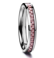 4mm - Women's Tungsten Carbide Wedding Band. Pink Carbon Fiber Inlay Wedding Bands Ring Comfort Fit