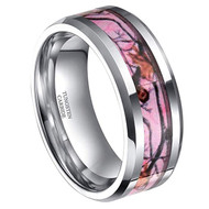 8mm - Unisex or Men's Tungsten Wedding Band. Silver Tone with Pink, Brown and Tan Camouflage Carbon Fiber Inlay