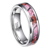 6mm - Unisex or Women's Tungsten Wedding Band. Silver Tone with Pink, Brown and Tan Camouflage Carbon Fiber Inlay