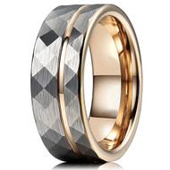 8mm - Unisex or Men's Tungsten Wedding Band. Hammered Brushed Silver Tungsten Ring with Rose Gold Interior and Stripe Design