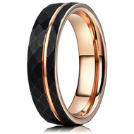 6mm - Unisex or Women's Tungsten Wedding Band. Hammered Brushed Black Tungsten Ring with Rose Gold Interior and Stripe Design