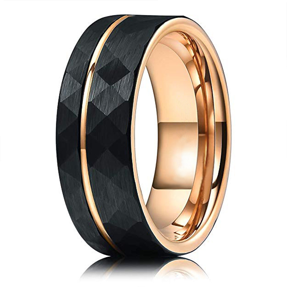 Womens Ring Brushed Black Tungsten Carbide Unisex Band With Yellow Gold* Interior Mens Ring Carbide 4mm Tungsten Ring Wedding Band
