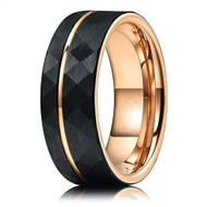 8mm - Unisex or Men's Tungsten Wedding Band. Hammered Brushed Black Tungsten Ring with Rose Gold Interior and Stripe Design