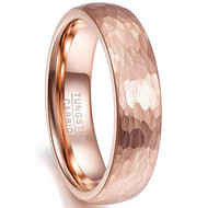 6mm - Unisex, Men's or Women's Tungsten Wedding Bands. Rose Gold Hammered Domed Top Comfort Fit Wedding Ring.