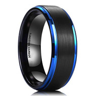 8mm - Unisex or Men's Tungsten Wedding Band. Blue Edge Ring with Black Matte Finish Top