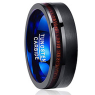 8mm - Unisex or Men's Wedding Tungsten Wedding Band. Black and Blue Band with Koa Wood Slice Inlay. Flat Edged Tungsten Carbide Ring. Comfort Fit Brushed Tungsten Carbide Wedding Ring