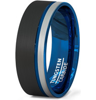 8mm - Unisex or Men's Blue, Black and Silver / Gray Triple Tone Tungsten Wedding Band. Pipe Cut, Flat Edges and Comfort Fit