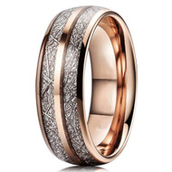 8mm - Unisex or Men's Tungsten Wedding Band. Rose Gold Double Line Inspired Meteorite Domed Tungsten Carbide Ring. Comfort Fit