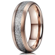 6mm - Unisex or Women's Tungsten Wedding Band. 14K Rose Gold Plated Inspired Meteorite Ring. Domed Tungsten Carbide. Comfort Fit