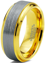 8mm - Unisex or Men's Tungsten Wedding Band. Silver and Yellow Gold Duo Tone Top. Comfort Fit Wedding Rings