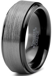 8mm - Unisex or Men's Tungsten Wedding Band. Gray and Black Plated Stepped Edge Ring. Comfort Fit with Brushed Top.