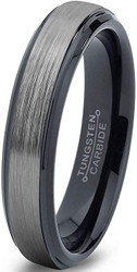 6mm - Unisex or Women's Tungsten Wedding Band. Gray and Black Plated Stepped Edge Ring. Comfort Fit with Brushed Top.