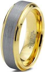 6mm - Unisex or Women's Tungsten Wedding Band. Silver and Yellow Gold Duo Tone Top. Comfort Fit Wedding Rings