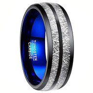8mm - Unisex or Men's Tungsten Wedding Band. Black Double Line Inspired Meteorite Domed Tungsten Carbide Ring with Blue Inner Band. Comfort Fit