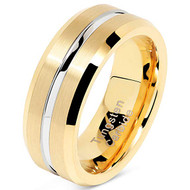 8mm - Unisex, Women's or Men's Tungsten Wedding Band. 14K Yellow Gold Band with Silver Groove High Polish Finish Tungsten Carbide Ring. Beveled Edge