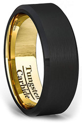 8mm - Unisex or Men's Tungsten Wedding Band. Black Matte Finish Tungsten Carbide Ring with Inside Yellow Gold Beveled Edge. Mens Wedding Bands