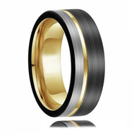 8mm - Unisex or Men's Tungsten Wedding Band. Triple Tone Black, Gray and Yellow Gold Tone Striped Pattern. Tungsten Ring Comfort Fit