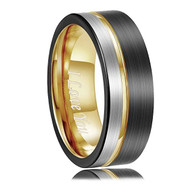 8mm - Unisex or Men's Tungsten Wedding Band. Triple Tone Black, Gray and Yellow Gold Tone Striped Pattern. I Love You Tungsten Ring Comfort Fit