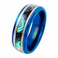 8mm - Unisex or Men's Tungsten Wedding Bands. Blue Multi Color Rainbow Abalone Shell Inlay Ring (Organic colors)