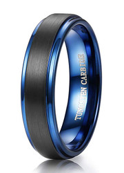 6mm - Unisex or Women's Tungsten Wedding Bands. Black and Blue Tungsten Ring. Inside High Polish. Comfort Fit