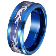 8mm - Unisex or Men's Blue Tungsten Carbide Wedding Ring. Silver Flame Pattern Inlaid Blue Carbon Fiber Band