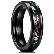 6mm - Unisex or Men's or Women's Tungsten Wedding Band. Wedding Band Black with Rainbow Fragments Inlay. Tungsten Carbide Ring