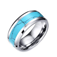 8mm - Unisex, Men's or Women's Blue Turquoise Inlay Tungsten Wedding Band Ring. Silver Tone Tungsten Carbide Ring Comfort Fit.