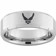 8mm - Unisex or Men's U.S. Air Force / USAF. Tungsten Wedding Band. Military Wedding Bands. Silver with Laser Etched United States Air Force Logo