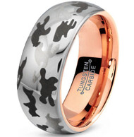 8mm - Unisex or Men's Tungsten Wedding Band. Silver and Black Camouflage and Rose Gold Inner band