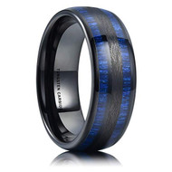 8mm - Unisex or Men's Tungsten Wedding Bands. Black and Blue Tone with Maple Wood Inlay. High Polish Domed Top Tungsten Ring