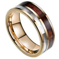 8mm - Unisex or Men's Wedding Tungsten Wedding Band. Yellow Gold Band with White Shell and Wood Inlay. Comfort Fit Tungsten Carbide Pipe Cut Ring