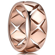8mm - Unisex or Men's Stainless Steel Wedding Band. Rose Gold with Hollow Crosses Domed Top Ring