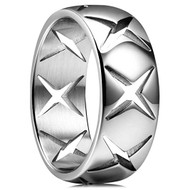8mm - Unisex or Men's Stainless Steel Wedding Band. Silver with Hollow Crosses Domed Top Ring