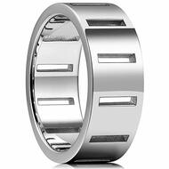 8mm - Unisex or Men's Stainless Steel Wedding Band. Silver Tone with Hollow Rectangles.  Pipe Cut Ring
