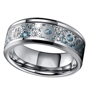 8mm - Unisex or Men's Tungsten Wedding Band. Wedding Band Sky Blue Carbon Fiber Inlay Silver Band with Silver Mechanical Gears. Tungsten Carbide Ring