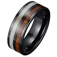 7mm - Unisex or Men's Tungsten Wedding Band. Black with Deer Antler and Brown Koa Wood Inlay Comfort Fit Tungsten Ring