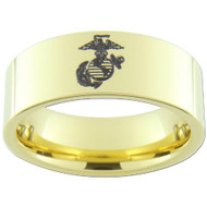 9mm - Unisex or Men's U.S. Marines / USMC Marine Corps. 14K Gold Plated Tungsten Wedding Band. Military Wedding Bands. Laser Etched United States Marines Logo