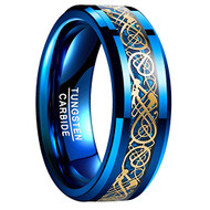 8mm - Unisex or Men's Tungsten Wedding Band. Blue Celtic Wedding Band. Blue and Gold Resin Inlay Celtic Knot Tungsten Carbide Ring Comfort Fit