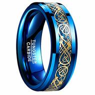 mens tungsten wedding bands blue, mens tungsten ring blue and gold celtic