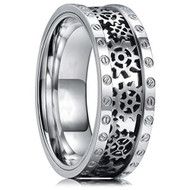 8mm - Unisex or Men's Titanium Wedding Band. Wedding Band - Silver Band with Cut out Silver Mechanical Gears and Bolts. Tungsten Carbide Ring