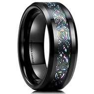 8mm - Unisex or Men's Tungsten Wedding Band. Rainbow Opal Celtic Mens Wedding bands. Black Band with Black Resin and Opal Inlay. Celtic Knot Tungsten Carbide Ring