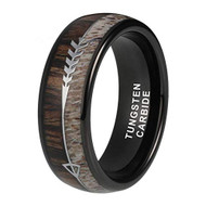 8mm - Unisex or Men's Tungsten Wedding Bands. Black Cupid's Arrow over Wood Inlay. Tungsten Ring with High Polish Antler and Dark Wood Inlay. Domed Top Ring.