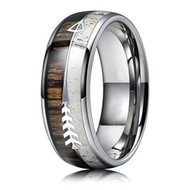 8mm - Unisex or Men's Tungsten Wedding Bands. Silver Cupid's Arrow over Wood Inlay. Tungsten Ring with High Polish Antler and Dark Wood Inlay. Domed Top Ring.