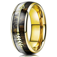 8mm - Unisex or Men's Tungsten Wedding Bands. Yellow Gold Cupid's Arrow over Wood Inlay. Tungsten Ring with High Polish Antler and Dark Wood Inlay. Domed Top Ring.