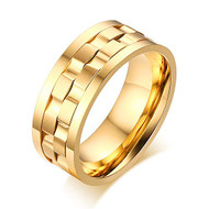 9mm - Unisex or Men's Stainless Steel Wedding Band. Yellow Gold with Rotating Spinner Center Brick Style Ring